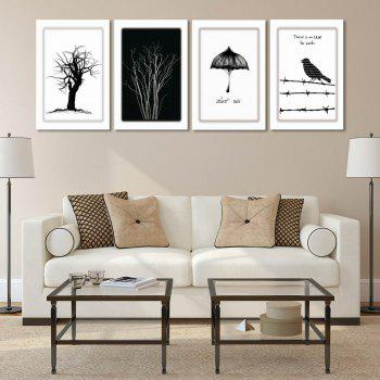 W170 Tree and Bird Unframed Art Wall Canvas Prints for Home Decorations 4PCS - multicolor A 60CM X 90CM X 4PC