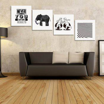 W173 Fashion Simple Unframed Art Wall Canvas Prints for Home Decorations 4 PCS - multicolor A 20CM X 20CM X 4PC