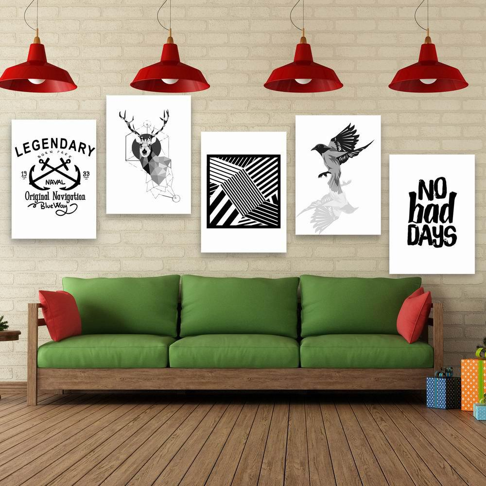 W175 Nordic Style Unframed Wall Canvas Prints for Home Decorations 5PCS - multicolor A 50CM X 70CM X 5PC