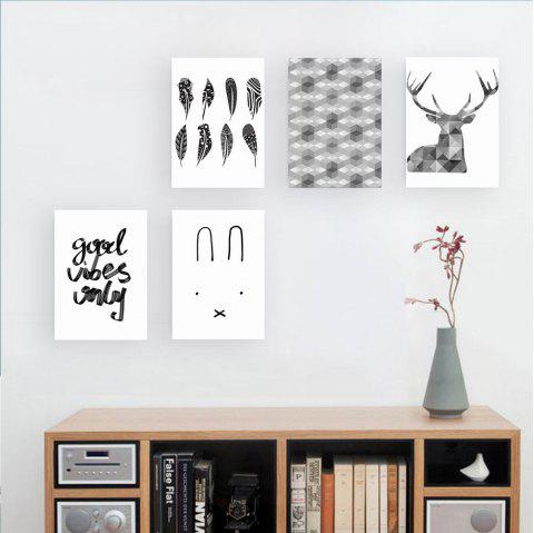 W176 Nordic Style Unframed Wall Canvas Prints for Home Decorations 5PCS - multicolor A 25CM X 35CM X 5PC