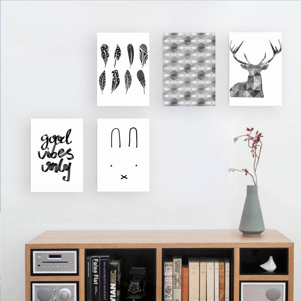 W176 Nordic Style Unframed Wall Canvas Prints for Home Decorations 5PCS - multicolor A 50CM X 70CM X 5PC