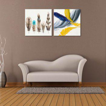 W178 Colorful Feathers Unframed Wall Canvas Prints for Home Decorations 2 PCS - multicolor A 30CM X 30CM X 2PC