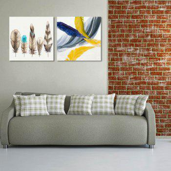 W178 Colorful Feathers Unframed Wall Canvas Prints for Home Decorations 2 PCS - multicolor A 50CM X 50CM X 2PC