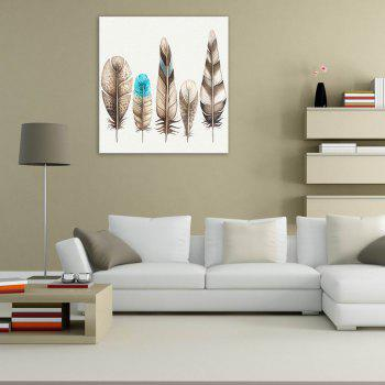 W178 Colorful Feathers Unframed Wall Canvas Prints for Home Decorations 2 PCS - multicolor A 60CM X 60CM X 2PC
