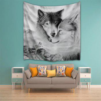 Couple Wolves 3D Printing Home Wall Hanging Tapestry for Decoration - multicolor A W229CMXL153CM