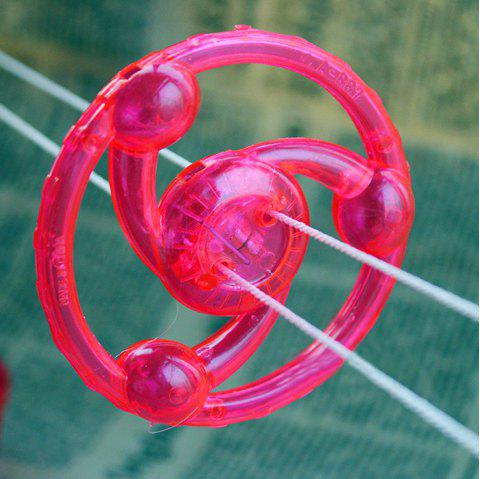 Pull Rope Rolling Flywheel Toy with Colorful LED Flashing Light for Kids - RED