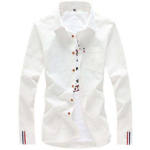 2018 Men's Solid Color Shirt Fashion Stripe Casual Long Sleeve Shirt - WHITE M