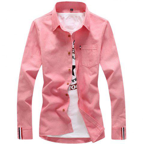 2018 Men's Solid Color Shirt Fashion Stripe Casual Long Sleeve Shirt - PINK 4XL