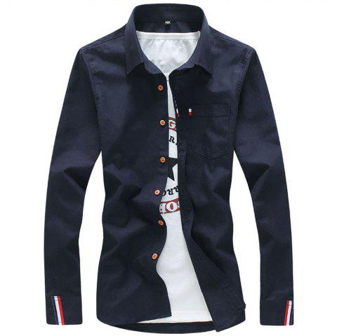 2018 Men's Solid Color Shirt Fashion Stripe Casual Long Sleeve Shirt - MIDNIGHT BLUE L