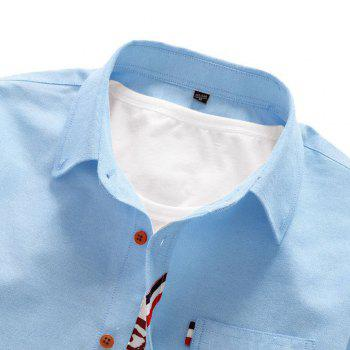2018 Men's Solid Color Shirt Fashion Stripe Casual Long Sleeve Shirt - DAY SKY BLUE M