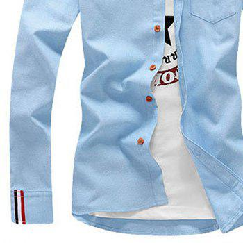 2018 Men's Solid Color Shirt Fashion Stripe Casual Long Sleeve Shirt - DAY SKY BLUE L
