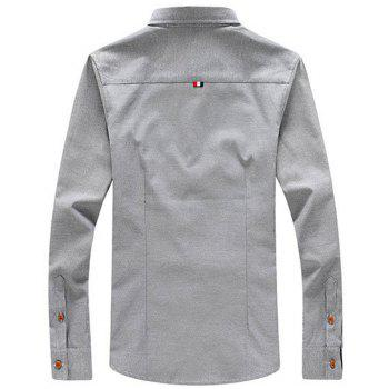 2018 Men's Solid Color Shirt Fashion Stripe Casual Long Sleeve Shirt - GRAY M