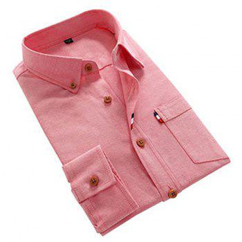 2018 Men's Solid Color Shirt Fashion Stripe Casual Long Sleeve Shirt - PINK L