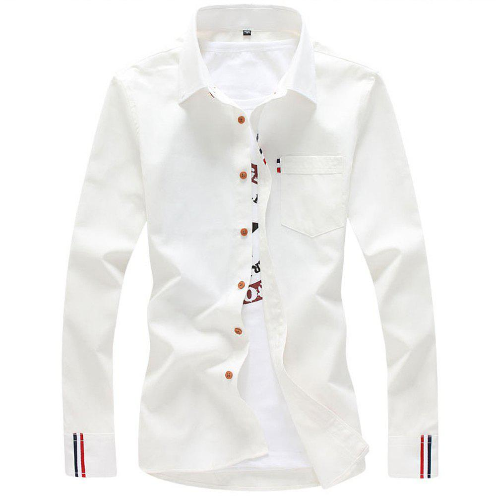 2018 Men's Solid Color Shirt Fashion Stripe Casual Long Sleeve Shirt - WHITE 5XL