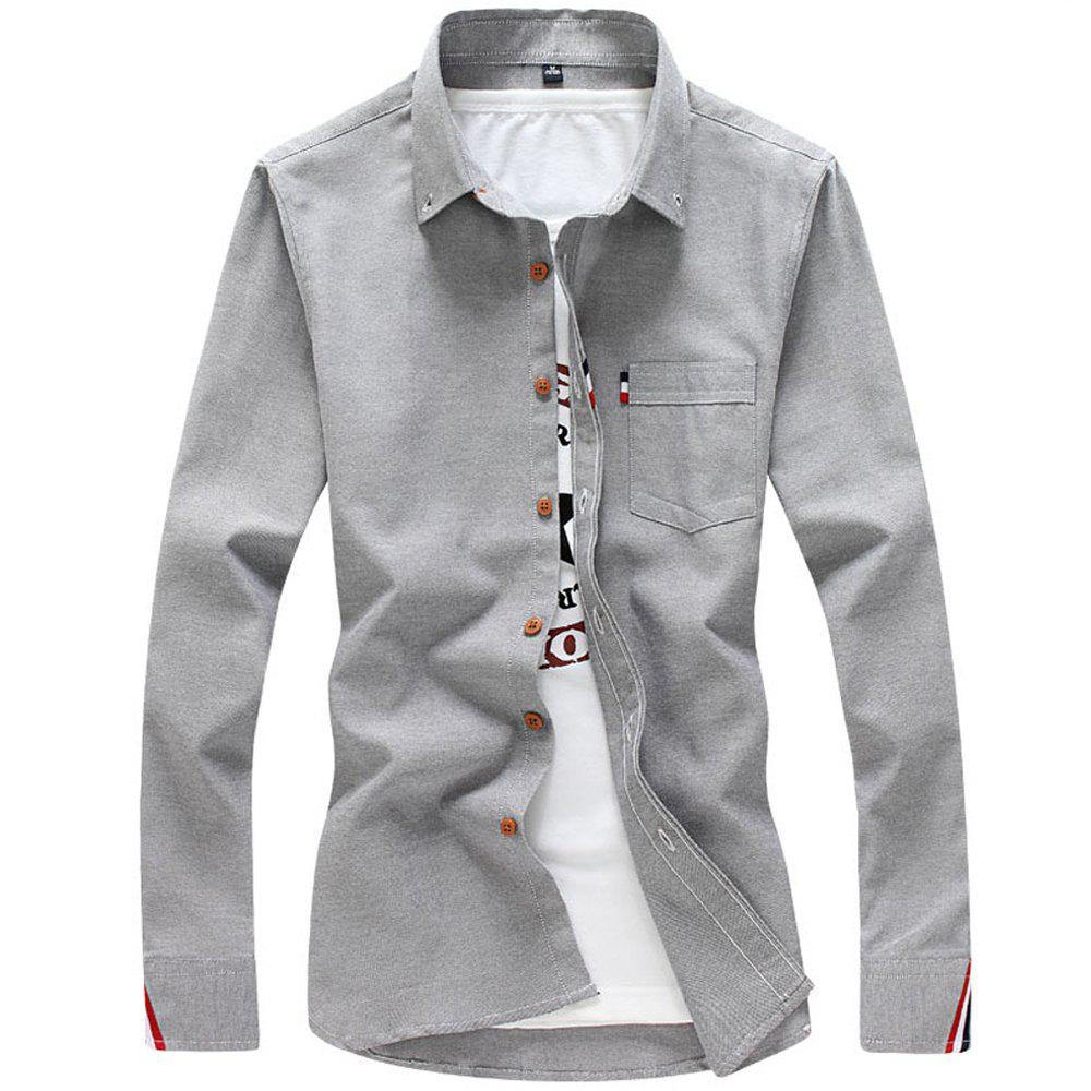 2018 Men's Solid Color Shirt Fashion Stripe Casual Long Sleeve Shirt - GRAY 4XL