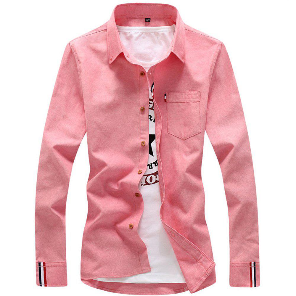 2018 Men's Solid Color Shirt Fashion Stripe Casual Long Sleeve Shirt - PINK 2XL