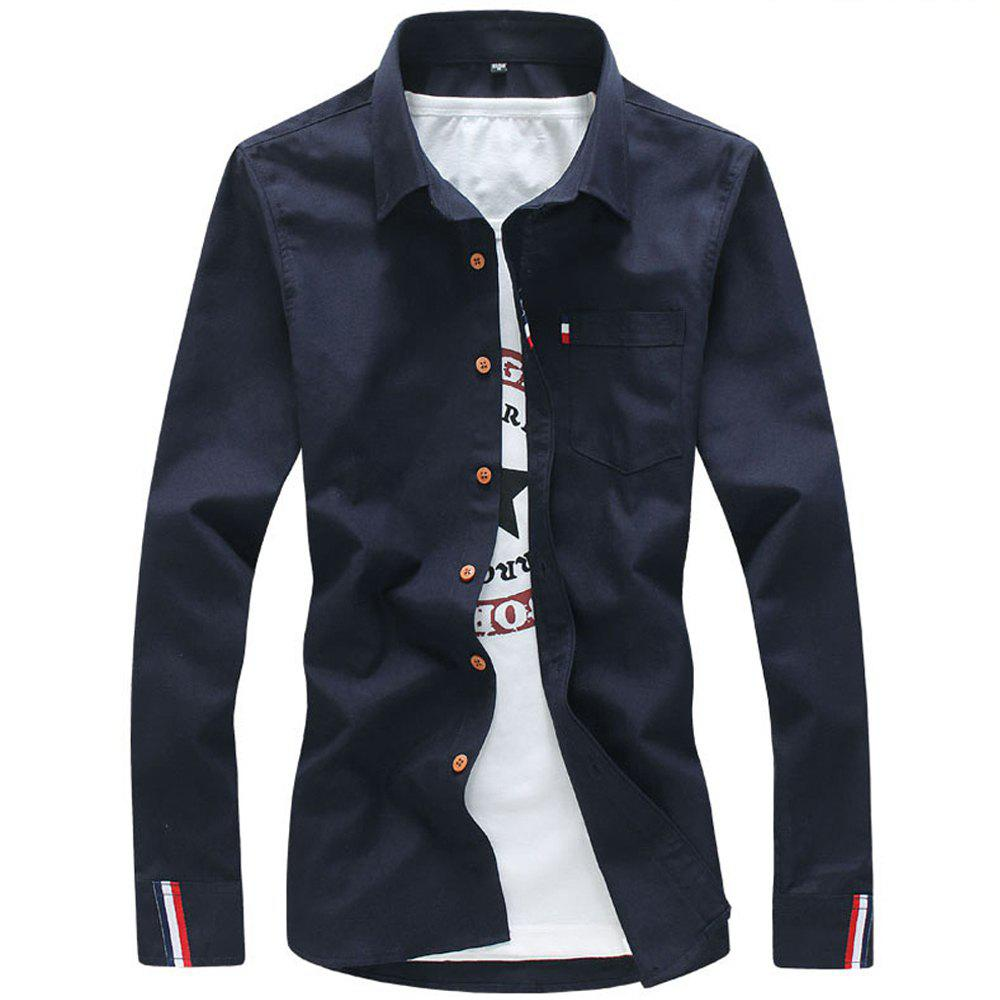 2018 Men's Solid Color Shirt Fashion Stripe Casual Long Sleeve Shirt - MIDNIGHT BLUE M