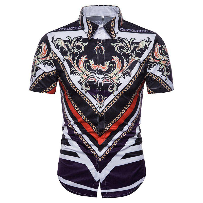 Summer Men's 3D Printed Collar Short Sleeve Shirt - WHITE L