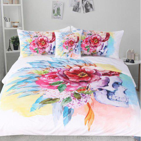 Colorful Floral Bedding  Duvet Cover Set Digital Print 3pcs - multicolor QUEEN