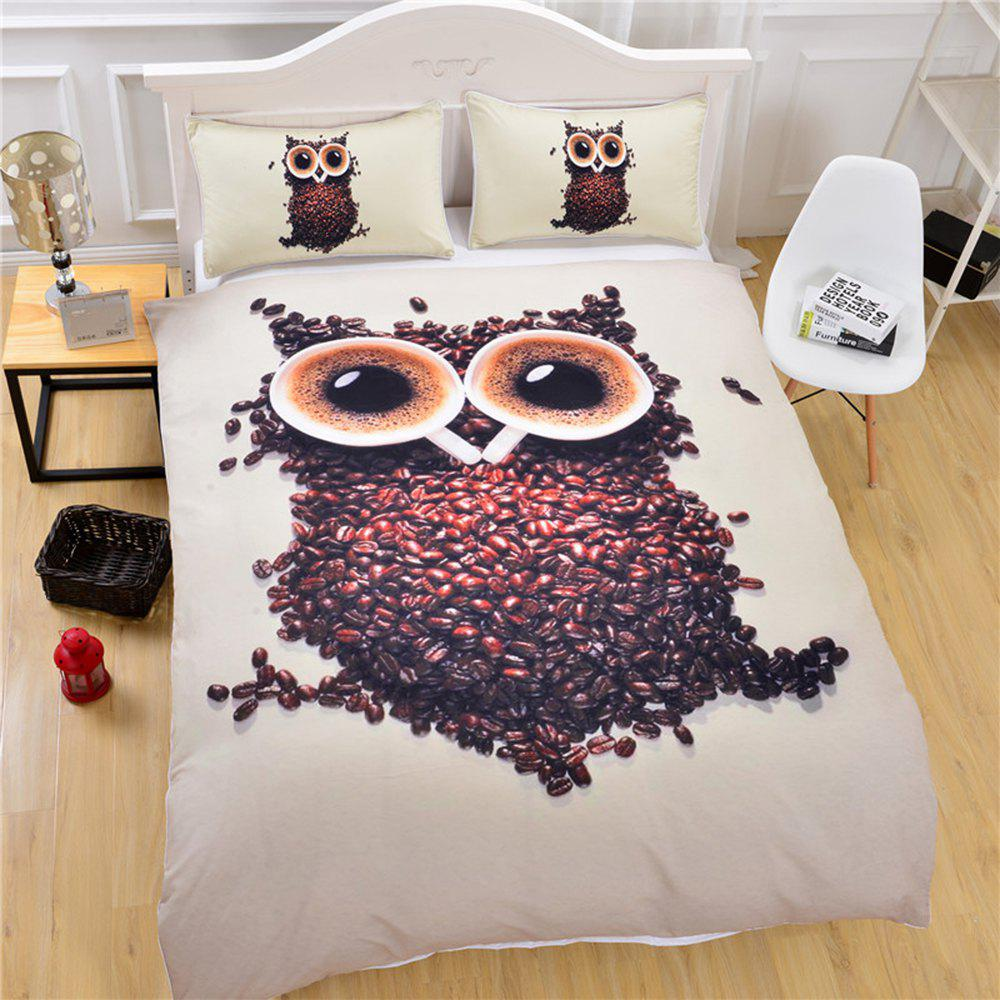 3D Cute Owl Bedding  Duvet Cover Set Digital Print 3pcs - multicolor QUEEN