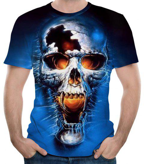 Summer New Fashion 3D Skull Print Men's Short Sleeve T-shirt - SAPPHIRE BLUE 6XL