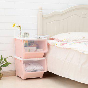 Front Opening Oblique Stacking Storage Box - LIGHT PINK