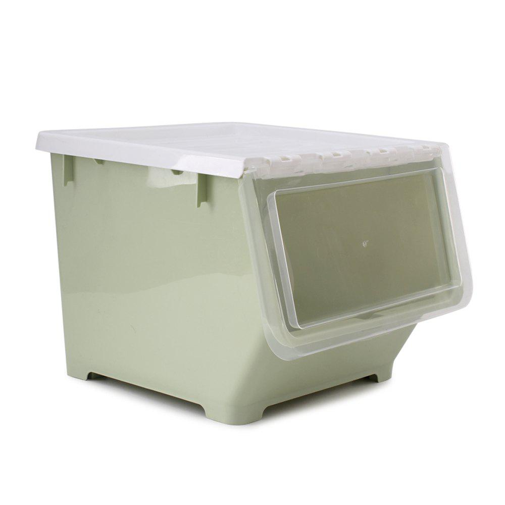 Front Opening Oblique Stacking Storage Box - GREEN THUMB