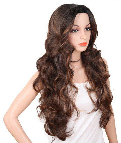 Red Super Long Body Wave Synthetic Hair Wigs Natural Hairline with Bang - BROWN 30INCH