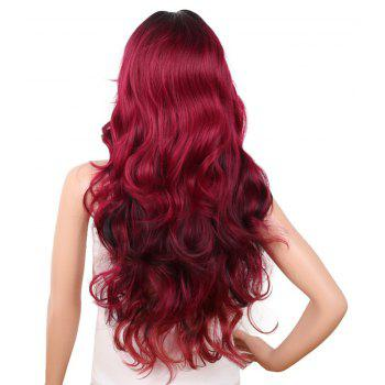 Red Super Long Body Wave Synthetic Hair Wigs Natural Hairline with Bang - RED WINE 30INCH