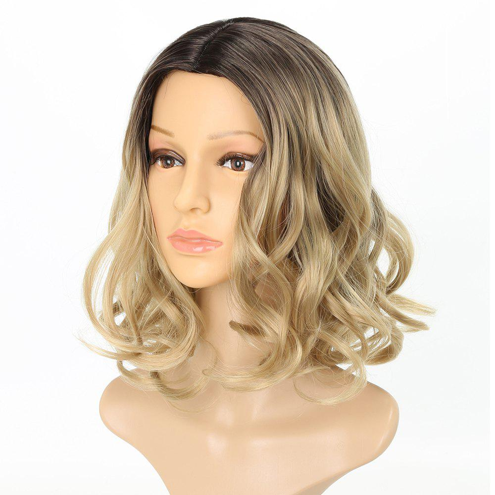 Light Blonde Ombre Fashion Fluffy Wavy Style Short Synthetic Hair Wig for Girls - BLONDE 12INCH