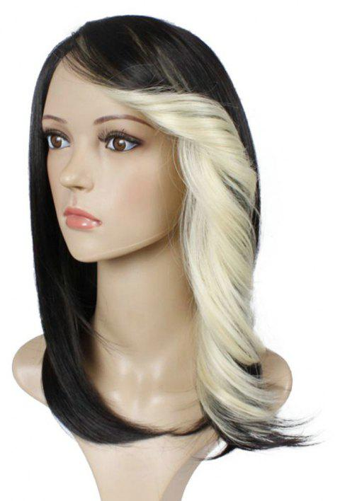 Short Straight Synthetic Wig For Women Ombre Black to Red Hair With Curly Bang - BLONDE 12INCH