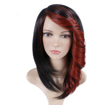Short Straight Synthetic Wig For Women Ombre Black to Red Hair With Curly Bang - CRANBERRY 12INCH