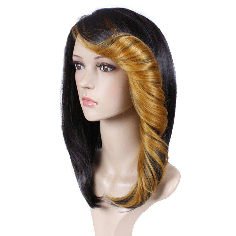 Short Straight Synthetic Wig For Women Ombre Black to Red Hair With Curly Bang - GOLDEN BROWN 12INCH