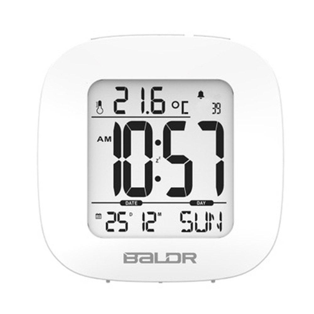 Digital Temperature Humidity Meter Wall Clock - WHITE