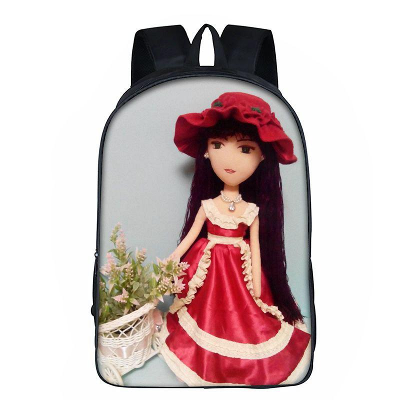 16 Inch Cheap Quality Personal Women Backpack Girls School Bag - RED