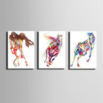 Special Design Frameless Paintings Horse Print 3PCS - multicolor 20 X 28 INCH (50CM X 70CM)