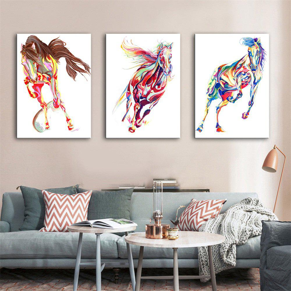 Special Design Frameless Paintings Horse Print 3PCS - multicolor 16 X 11 INCH (40CM X 28CM)