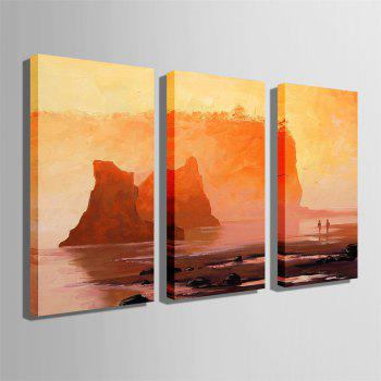 Special Design Frameless Paintings Walk By The Sea Print 3PCS - DARK ORANGE 20 X 14 INCH (50CM X 35CM)