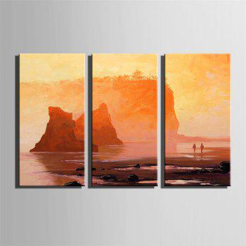 Special Design Frameless Paintings Walk By The Sea Print 3PCS - DARK ORANGE 24 X 16 INCH (60CM X 40CM)