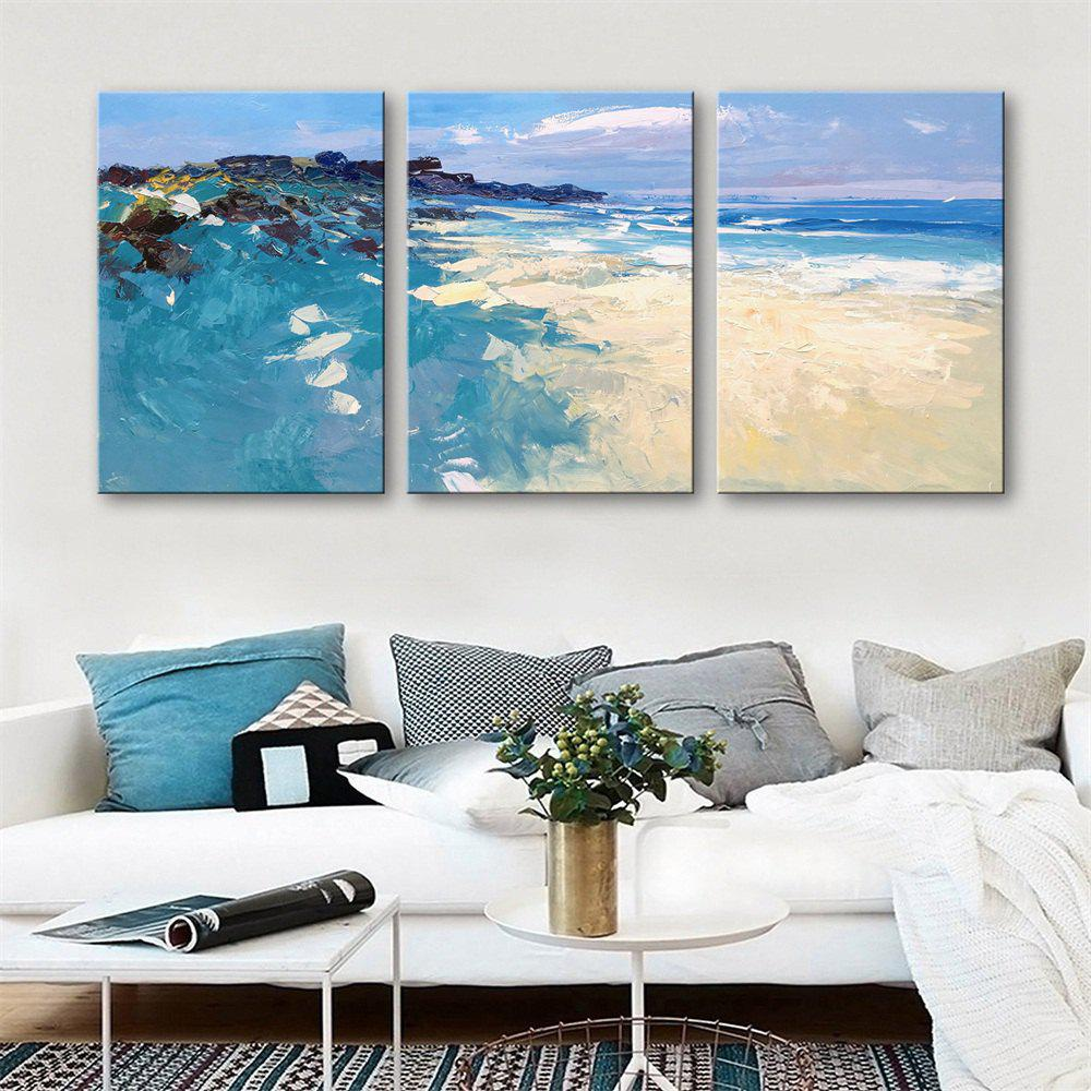 Special Design Frameless Paintings Seaside Scenery Print 3PCS - multicolor 9 X 13 INCH (24CM X 34CM)