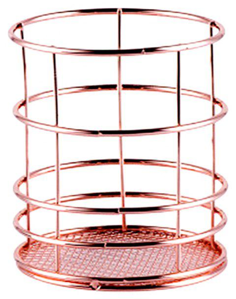 WX-032703 Nordic Simplicity Rose Gold Plated Metal Desktop Storage Basket - ROSE SIZE 1