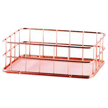 WX-032703 Nordic Simplicity Rose Gold Plated Metal Desktop Storage Basket - ROSE SIZE 2