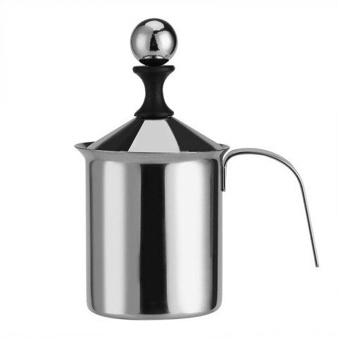 400ml Stainless Steel Creamer Pump Milk Frother Double Froth Foamer - MILK WHITE