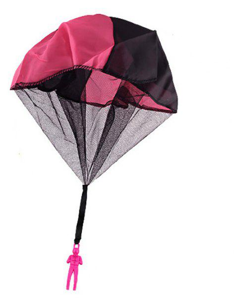 Kids Hand Throwing Parachute Toy Outdoor Fun and Sports Play Game - ROSE RED