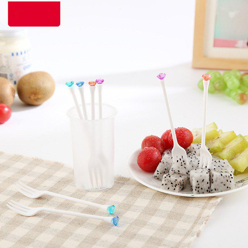 Creative Plastic Fruit Fork Picnic and Party Supplies 8PCS - multicolor