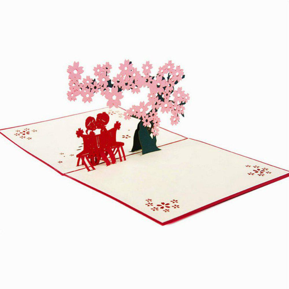 3D Greeting Card Cherry Tree Love Valentine - PINK