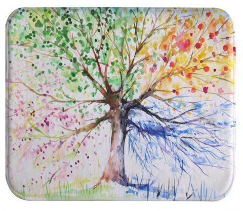 Ink Colorful Tree Super Soft Non-Slip Bath Door Mat Machine Washable Quickly Dry - multicolor A W16 INCH * L24 INCH