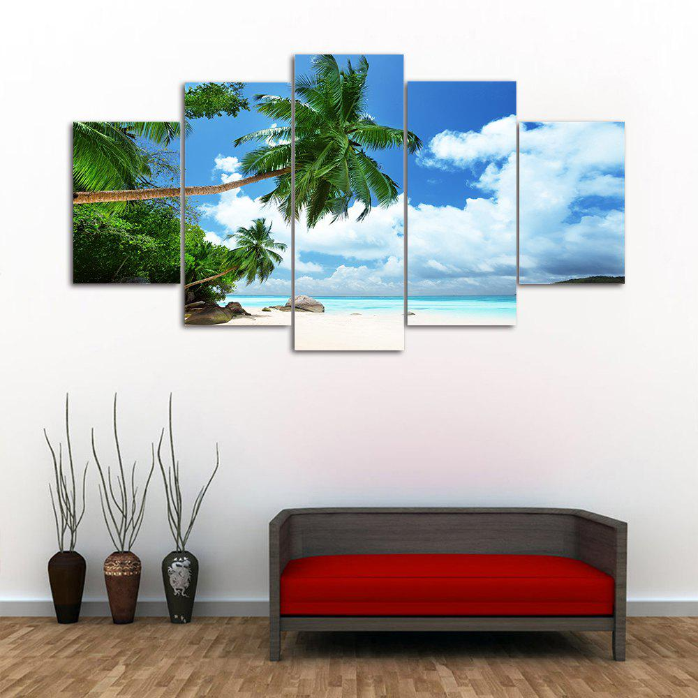 Island Beach 5PCS Frameless Printed Canvas Wall Art Paintings sunset frameless printed canvas wall art paintings 4pcs