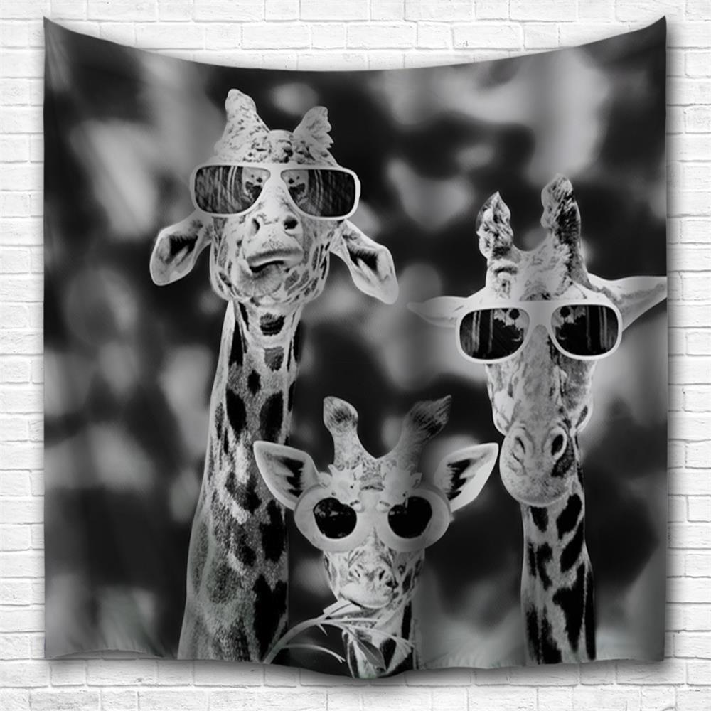 Sunglasses Giraffe 3D Printing Home Wall Hanging Tapestry for Decoration - multicolor A W153CMXL102CM