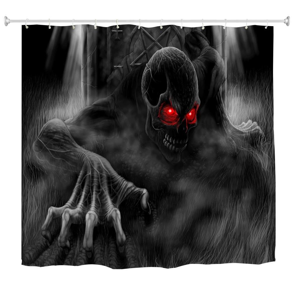 Red Eye Demon Water-Proof Polyester 3D Printing Bathroom Shower Curtain - multicolor A W71 INCH * L71 INCH